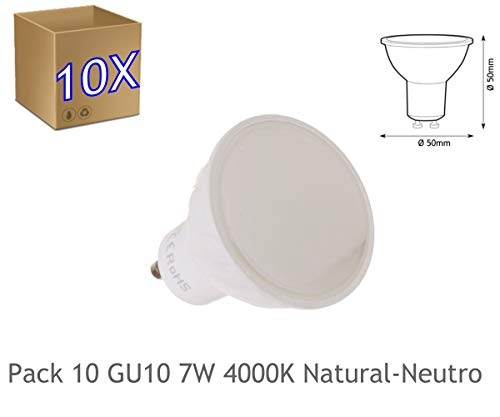 JANDEI - 10x Bombilla led GU10 de 7W equivalente a 50W, 120º de apertura, en blanco natural 4000K de 50x50mm marco blanco (4000K Natural)