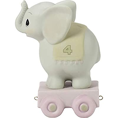 Precious Moments, May Your Birthday Be Gigantic, Birthday Train Age 4, Bisque Porcelain Figurine, 142024