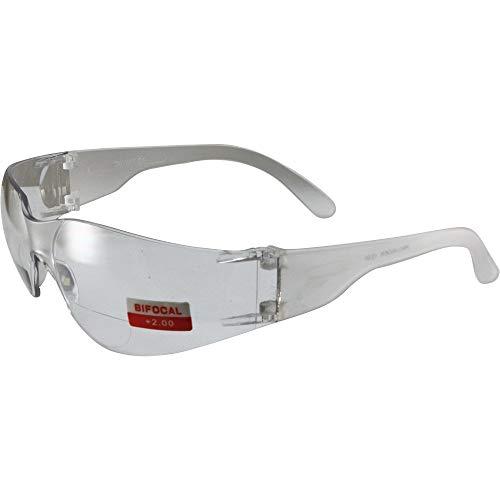 Global Vision Rider Z87.1 - Gafas de sol bifocales de seguridad para motocicleta, montura transparente, lente transparente de aumento 2.0 x
