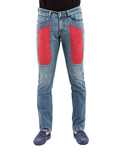 Jeckerson Jeans a 5 Tasche con Toppe in Alcantara (Rosso, 46, Numeric_32)