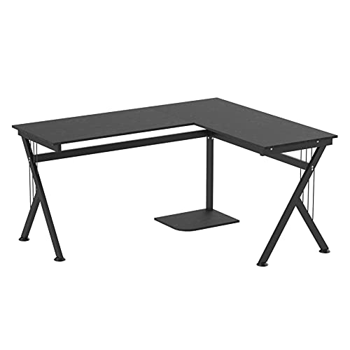 HOMCOM 61 Inch Modern Reversible L-Shaped Home Office Desk Computer Laptop Table Gaming Desk Corner Workstation with CPU Stand, Space Saving, Black