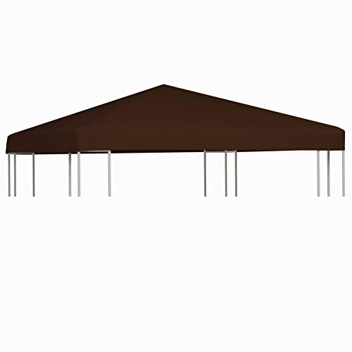 BLUECC Canopy Replacement Top 0.68lb/m² Patio Gazebo Top Cover (10'x10', Brown)