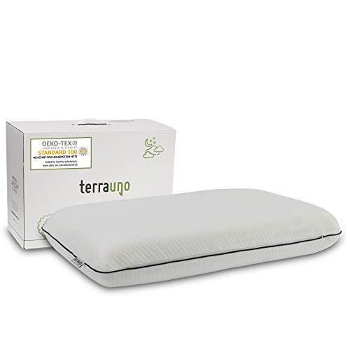 TerraUno Nackenstützkissen aus viskoelastischem Gelschaum und inkl. waschbarem Bezug – ÖkoTex zertifiziertes Memory Foam Kopfkissen