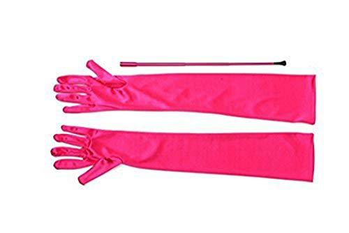 Utopiat - Soporte para cigarrillos largo y extensible y conjunto de guantes de satén largos para ópera, inspirados en el estilo de Audrey Hepburn (Rosado)