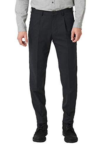 s.Oliver BLACK LABEL Herren Relaxed Fit: Anzughose im Jersey-Look black dobby 44