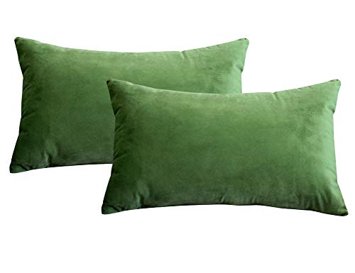 Lutanky Velvet Cushion Covers (Pack of 2) Lovely Rectangle Throw Pillow Cases Soft Solid Decorative Pillow Covers for Sofa Bedroom Car 12x20 Inch 30 x 50 cm(olive-green, 2 pieces)