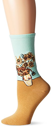 Hot Sox Women's Artist Series Crew Socks | Sunflowers, Spearmint, Shoe Size: 4-10