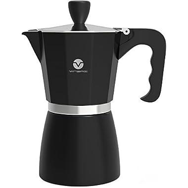 Vremi Stovetop Espresso Maker - Moka Pot Coffee Maker for Gas or Electric Stove Top - 6 Cups Demitasse Espresso Shot Maker for Italian Espresso Cappuccino or Latte - Black