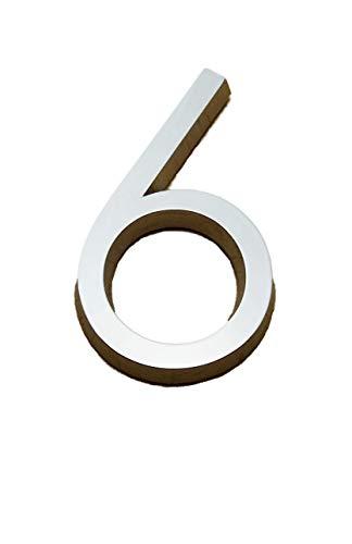 Zelfklevende chroom cijfers zilveren auto deur nummer 3D HAG hoogte 5CM 6