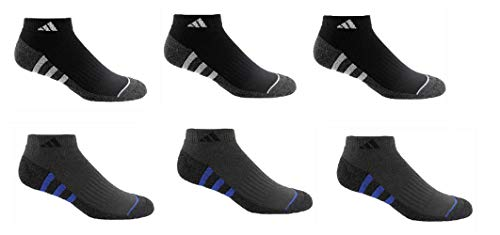 Adidas Men's Climalite Low Cut 6-pair Socks Regular, Black/Blue/Grey 6-12 -NEW