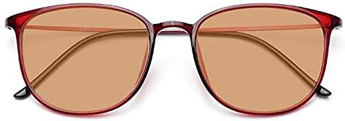 Gafas de lectura retro Luz azul Bloqueo de computadora Gafas de computadora PhotoChrómicas Eyewear Progresivo Multifocus Lentes para mujeres Hombres Protección UV-Vino rojo + lente fotocromático