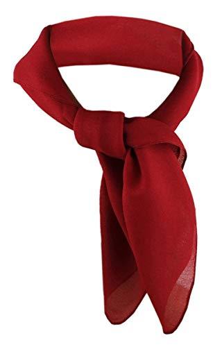 TigerTie Damen Chiffon Nickituch in rot bordeaux einfarbig unicolor - Halstuch Größe 50 cm x 50 cm