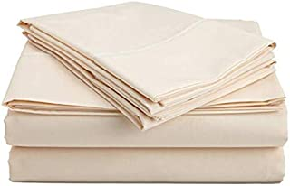 Heavy Fabric Sheet Set Solid Pattern 1500 Thread Count Heavy Fabric Rich Egyptian Cotton Quality 4-Pieces Luxurious Sheet Set Fits Mattress 13-15