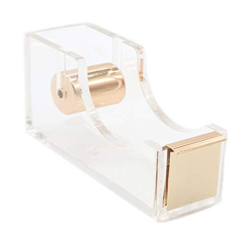 Acrylic Gold Tape Dispenser,Clear Acrylic Desk Dispenser Kit , Modern Design Office Desktop Tape Dispense