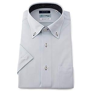[アイシャツ] i-shirt 完全ノーアイロン ストレッチ 速乾 レギュラーフィット 半袖 アイシャツ ワイシャツ メンズ サックス 半袖ボタンダウン ドビー M16220001081 日本 3L(首回り45cm) (日本サイズ3L相当)