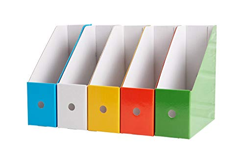 Magazine File Holders by Manhattan International. Cardboard Holders for Storage, Trendy Pack. Best for Filing, Documents Divider, Organizer Sorter, Tidy Shelf. Excellent for desks.