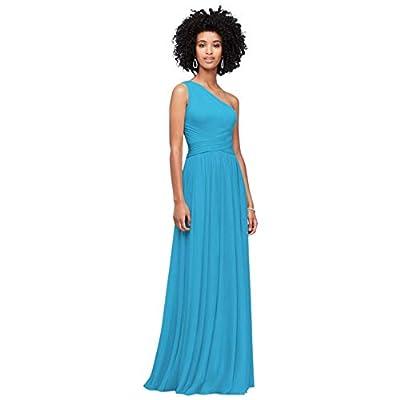 David's Bridal One-Shoulder Mesh Bridesmaid Dress with Full Skirt Style F19932, Malibu, 4