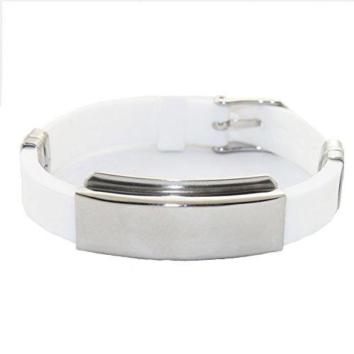 Energetix 4you 607 Wings - Pulsera magnética de caucho con iones negativos (10 mm de ancho, tamaño S - XL, con bolsa para joyas), color blanco