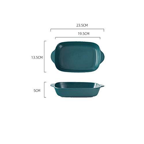 WQF Plateau de Cuisson en céramique 2 pièces Assiette de Riz au Fromage cuit au Four Assiette en céramique binaurale créative Plaque de Cuisson Domestique Moules à gâteaux (Couleur: B,