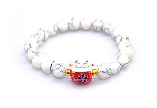 Bracelet Japonais Maneki Neko (招き猫) Porte Bonheur Perles Naturelles veinées Blanches (18 cm...