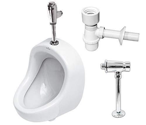 VBChome- Set: Urinal Zulauf Oben Weiß Modern Hochwertig Keramik Pinkelbecken senkrecht Pissoir PRÄSIDENT + Spülventil Urinalspüler Druckspüler HYDRO H + Siphon Flaschensiphon A50132