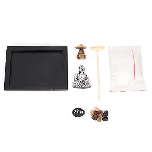HEEPDD Mini Caja de Arena Zen de meditación,  jardín de Madera Zen Decoración de Oficina Artesanía de Madera para aliviar el estrés con Figura de Buda Rocas Naturales de río RAK Sand
