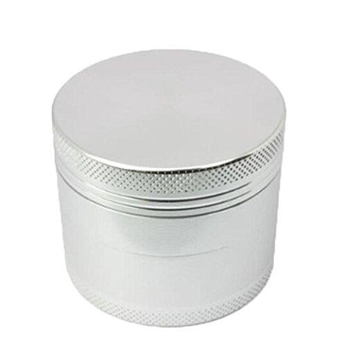 Trituradora de tabaco,STRIR Grinder 4 capas Grinder Metálico con Rascador Polen para Hierbas y Especias (4cm,Silver)