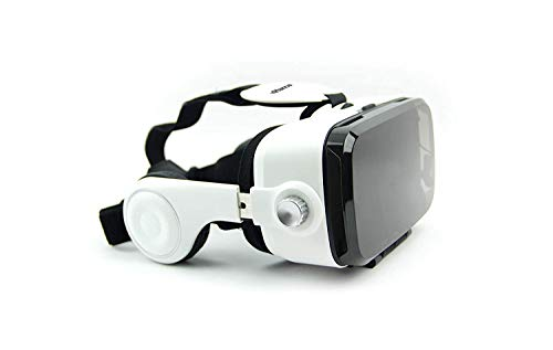 """DOMO nHance VR10 Universal Virtual Reality 3D Headset with Inbuilt Stereo Sound Headphone and Capacitive Touch Button for Smart Phones with Screen Size 4"""" to 6.2"""" (White)"""