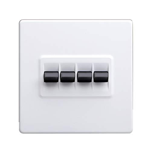 FSJKZX Enchufe del Interruptor De Palanca Panel De Interruptores De Metal Retro Blanco para El Hogar Tipo 86 Interruptor De Encendido Control Doble Interruptor De 2 Vías Decoración