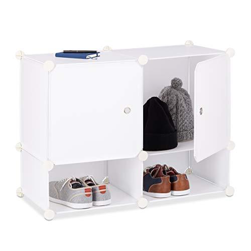 Relaxdays System regałowy 4 półki, regał stojący z tworzywa sztucznego, regał wtykowy z drzwiczkami, regał łazienkowy, wys. x szer. x gł.: 56 x 75 x 37 cm, biały