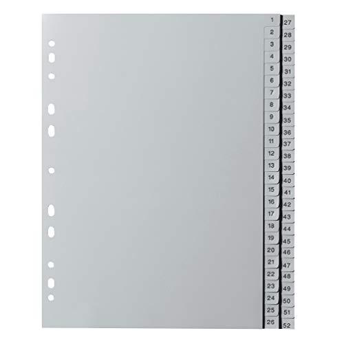 Original Falken PP Kunststoff-RegisterFür DIN A4 22,5 x 29,7 cm volle Höhe Druck 1-52 52 Blatt grau Ringbuch Ordner Plastikregister ideal für Büro und Schule