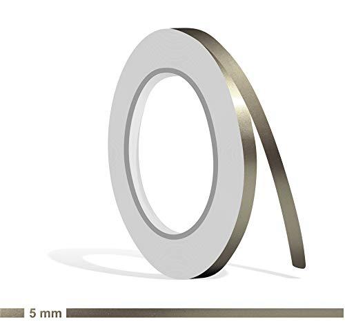 Siviwonder Zierstreifen Nickel metallic Glanz in 5 mm Breite und 10 m Länge Folie Aufkleber für Auto Boot Jetski Modellbau Klebeband Dekorstreifen grau Silber