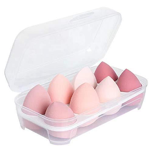 Esponjas para Maquillaje Facial 8 Piezas Set de Esponjas de Maquillaje Rosa Esponjitas Maquillaje para Base Líquida Crema y Polvo Puffs en polvo