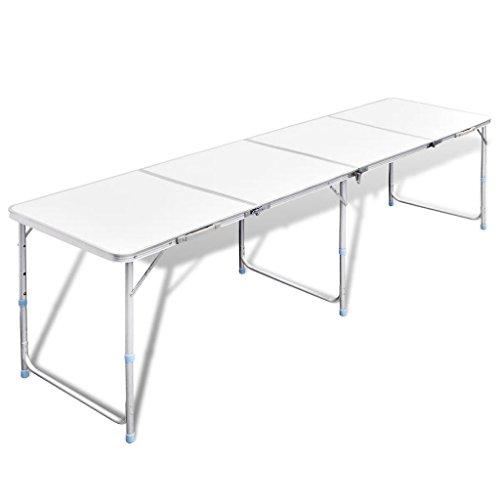 lingjiushopping mesa plegable de camping de aluminio con altura ajustable talla PLI ¨ ¦ e: 60x 60x 14cm (L) X L X H) talla no PLI ¨ ¦ e: 240x 60x 70/62/55cm (L x l x h)