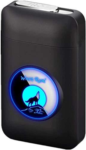 Pitillera con mechero, con LED gráficos, 2 en 1, portátil, electrónico, recargable, sin llama, elegante diseño, encendedor recargable, azul SchwarzerWolf