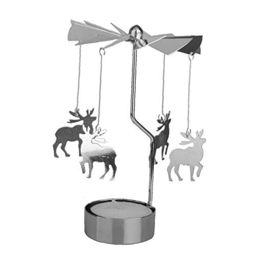 Chic Karussell Kerzenhalter Kreative Spinning Teelicht Durable Metall Rotary Kerzenhalter Für Hauptdekoration (Hirsch)