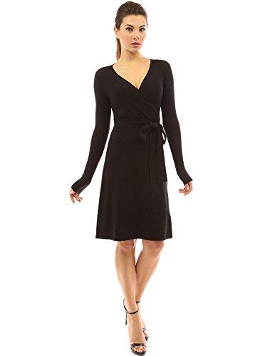 PattyBoutik Damen Strickkleid, langärmlig mit V-Ausschnitt und Gürtel (schwarz L 42/44)