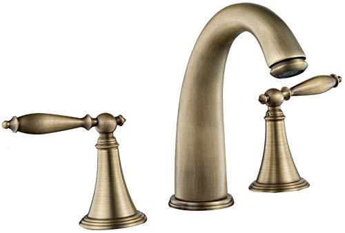 Grifo de filtro de agua potable Grifo del lavabo del baño Grifo de baño extendido de latón sólido de arco bajo de dos manijas con mangueras Grifos de caño grande 2 colores (color: latón,tamaño: 18 * 1