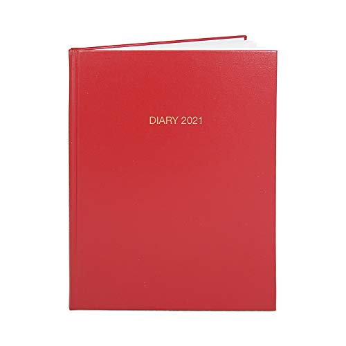 BookFactory 2021 Business Diary (384 Pages - 8 1/2' x 11') Red Cover, Smyth Sewn Hardbound (CAL-384-7CS-LR(DIARY-2021))