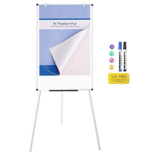 "VIZ-PRO Light Magnetic Tripod Whiteboard/Flipchart Easel,24"" W x 36"" L, Include 1 x Flipchart Pad"