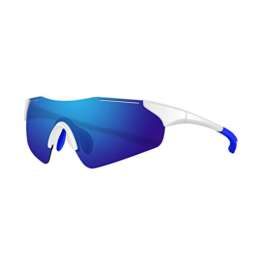 Polarized Sports Sunglasses for Men Women Youth Baseball Fishing Cycling Running Safety Tac Glasses (White-Blue)