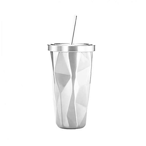 TOPofly Acero Vaso Inoxidable con Paja Wim Caliente y fría de la Pared del Doble Que Bebe Las Tazas de café Tazas Irregular Diamante con Tapa