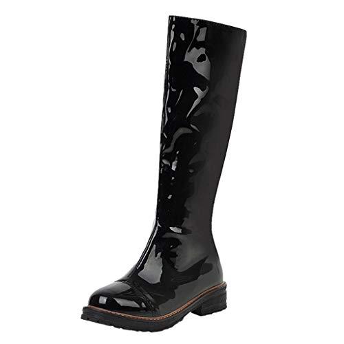 Yowablo Boots Damen Braun Stiefel Damen Flach Overknee Stiefel Schwarz Mit Absatz Stiefeletten Damen Grau Boots Damen Schwarz Stiefeletten Damen Schwarz Stiefel Braun (36 EU,Schwarz)