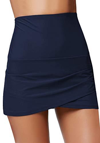 GRAPENT Women's High Waist Tulip Hem Shirring Swim Skirt Swimsuit Bikini Bottom Navy Blue Size XL