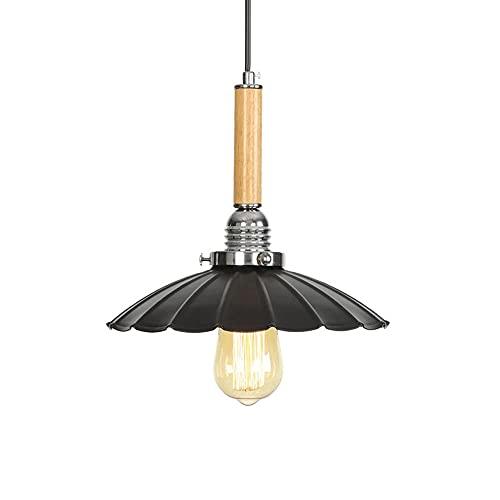 Ahzhlb Luz Colgante de Hierro Forjado, Luces Colgantes de Metal Negro en Forma de Frisbee, Soporte de lámpara E27, lámparas de suspensión Simples nórdicas para Comedor, Isla de Cocina (sin Bombilla)