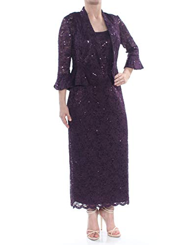 R&M Richards Womens Lace Sequined Dress with Jacket Purple 18
