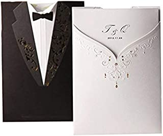 Laser Cut Wedding Invitations Cards 50pcs Black&White Groom and Bridal Blank Tri-fold Inserts Printable Personalized for Engagement Marriage Bridal Shower (Set of 50 Pieces)