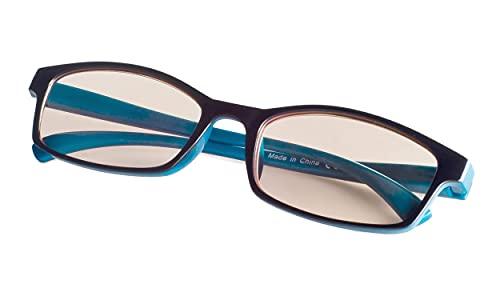 Reducblu Reading Computer Glasses for Women and Men - Block Blue Light Glasses - Black Blue +2.50
