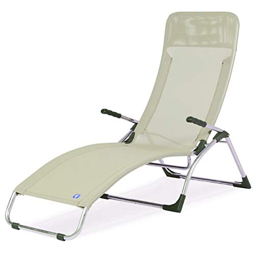 fiam Samba Chaise Longue à Bascule Art. 045TXBIBE Structure en Aluminium et texilene Blanc/Beige