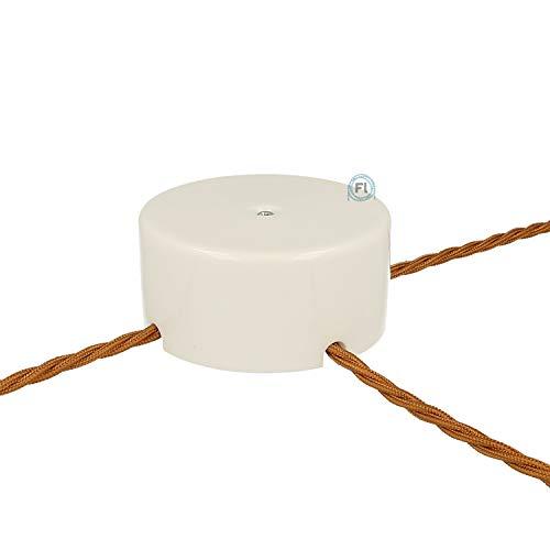 Flairlux Aufputz Verteilerdose Porzellan rund | Abzweigdose zur Aufputzverlegung von Kabeln | Wanddose mit 3 Ausgängen Ø100 mm - h45 mm inkl Verbindungsklemmen zur Kabelverbindung (weiß)